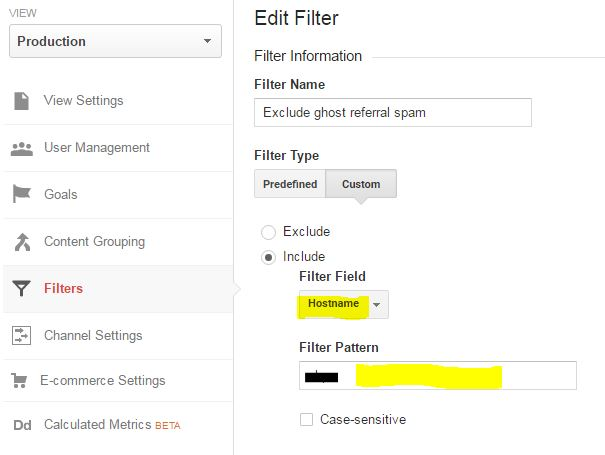 Removing fake referrals in Google Analytics